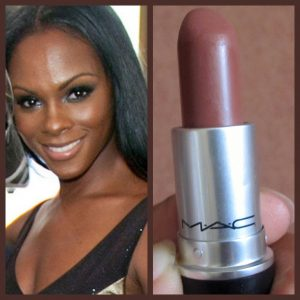Dark Skinned Woman Wearing a Dark Brown MAC Lipstick