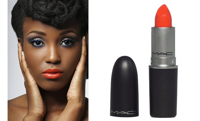 Dark Skinned Woman Wears MAC Morange Amplified Creme