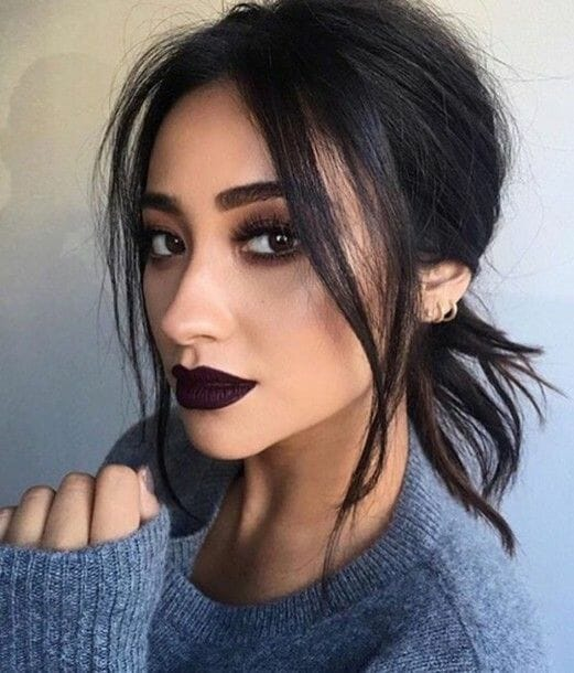 Shay Mitchell Wearing a MAC Dark Lipstick